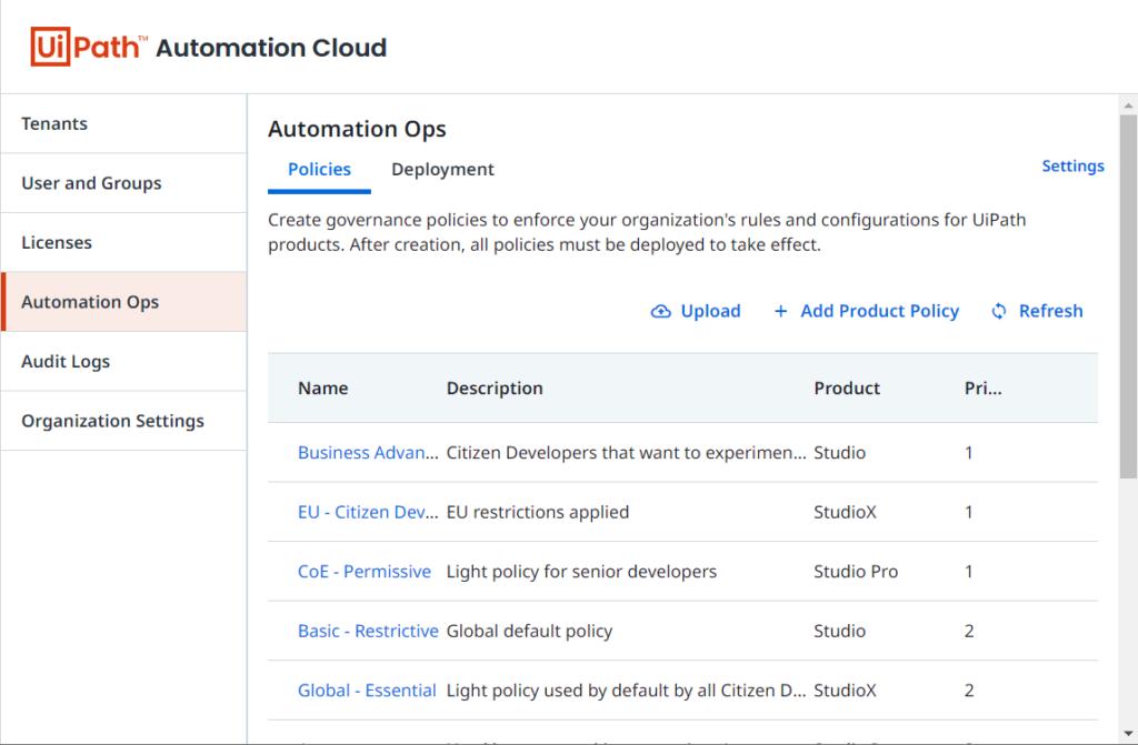 Automation Ops - это функция администратора, доступная в UiPath Automation Cloud.